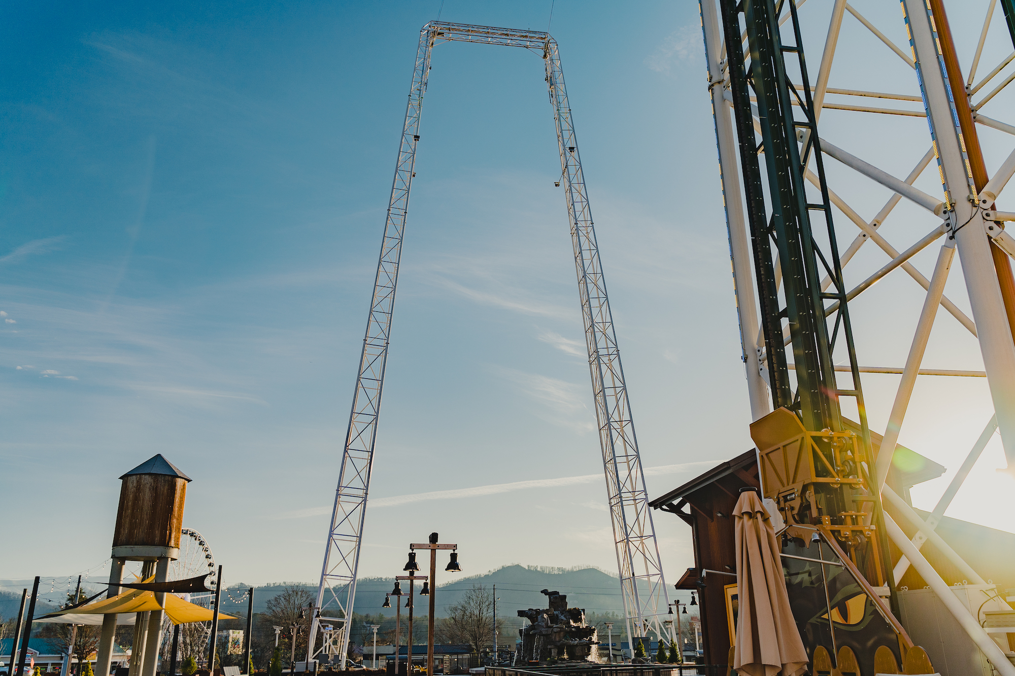 the tall tower of the mountain monster ride at the mountain mile in Pigeon Forge Tennessee