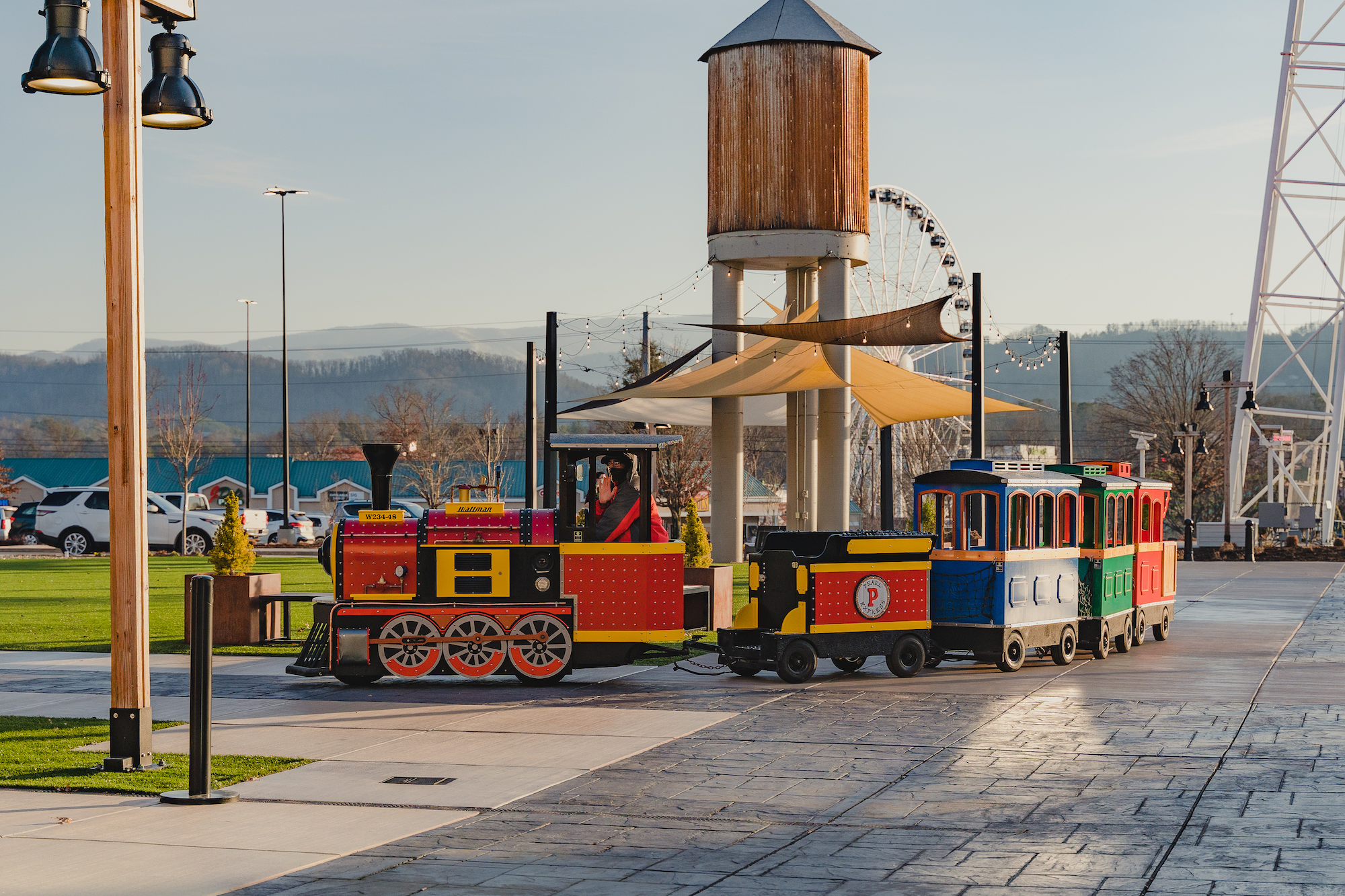 Choo choo Train ride at the mountain mile mall. outside. in Pigeon Forge Tennessee