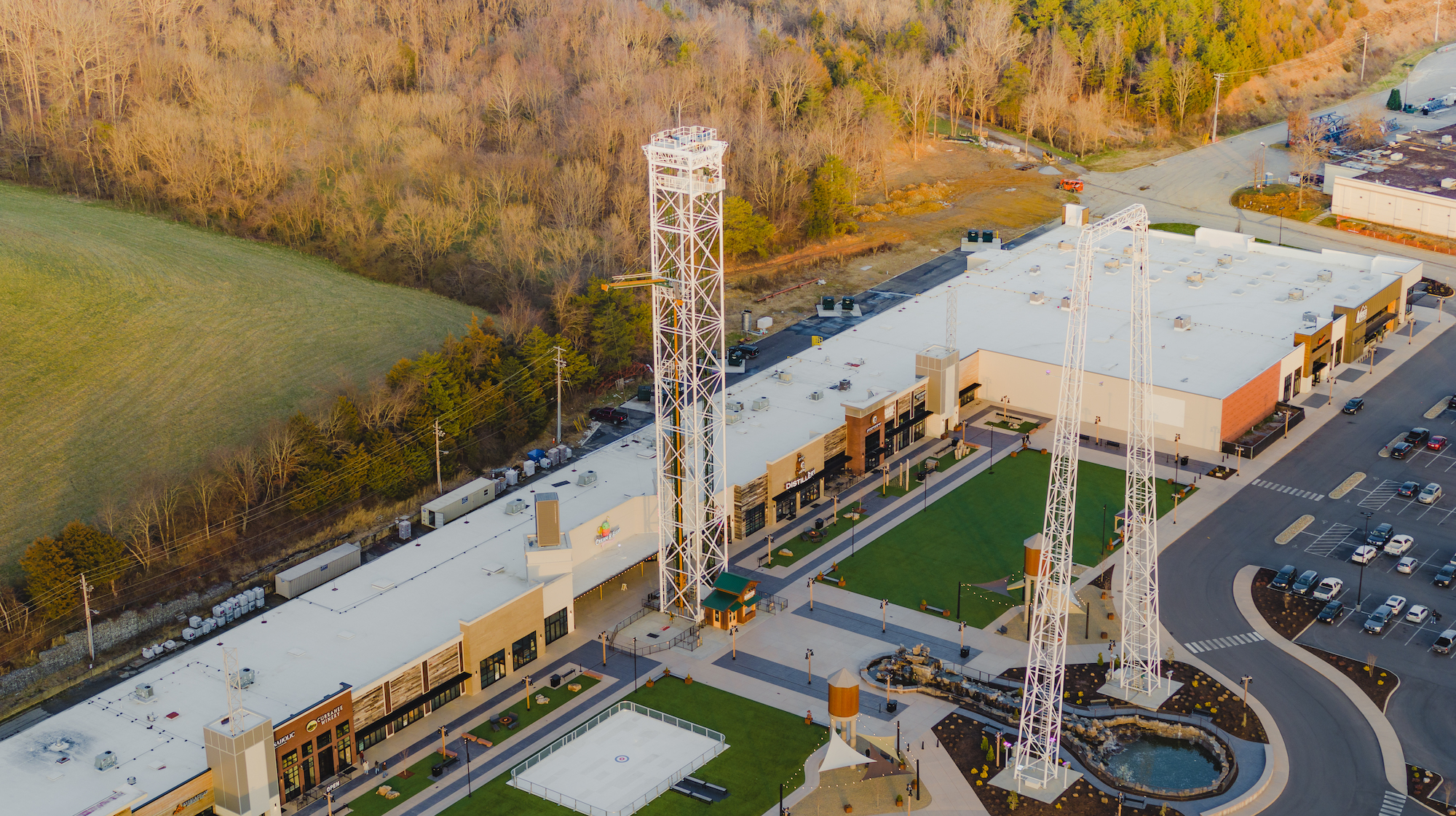 Over Head Drone Shot of the Mountain Mile Mall - Side angle in Pigeon Forge Tennessee