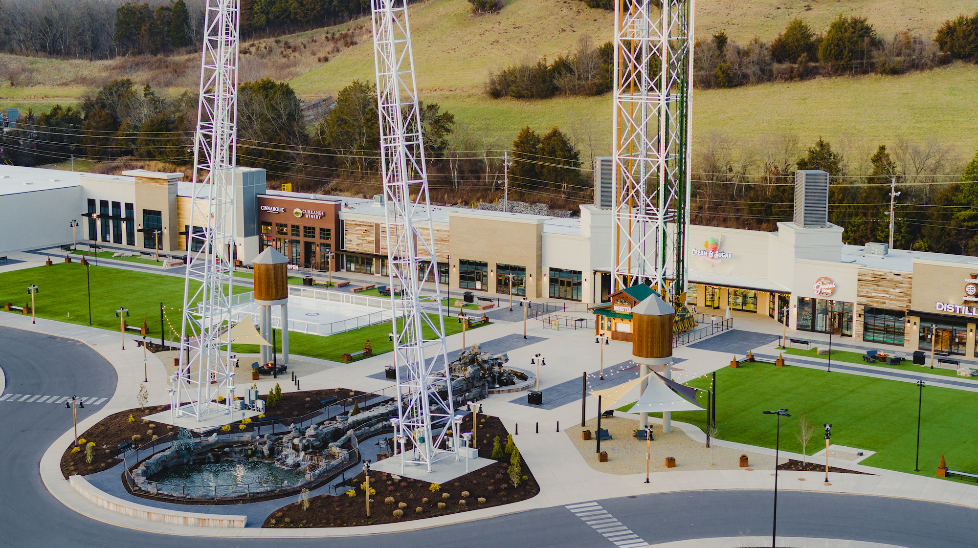 Drone Photo of the Mountain Mile Mall with the Mountain Monster in the center of the shot in Pigeon Forge Tennessee.