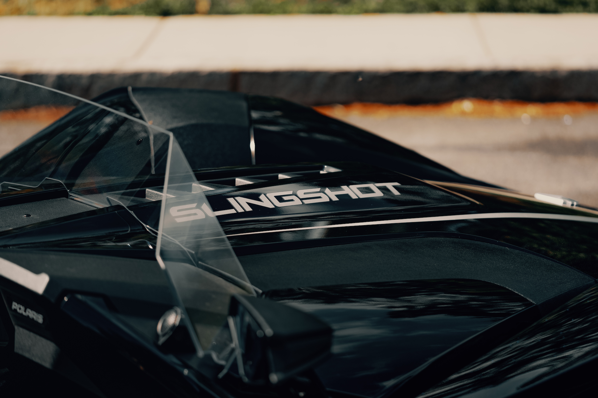 hood of the Polaris Slingshot - Polaris Slingshots are available as rentals at the Mountain Mile Mall at Mountain Mile Adventures in Pigeon Forge, Tennessee