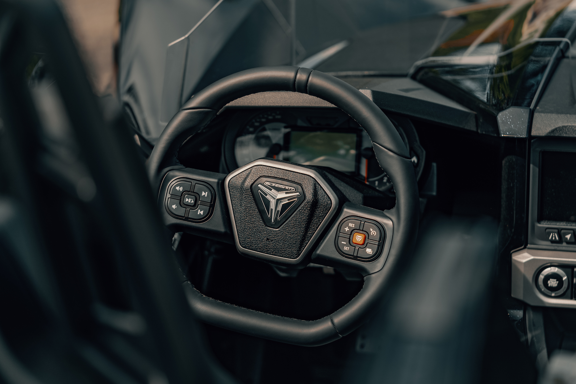 steering wheel of the Polaris Slingshot - Polaris Slingshots are available as rentals at the Mountain Mile Mall at Mountain Mile Adventures in Pigeon Forge, Tennessee