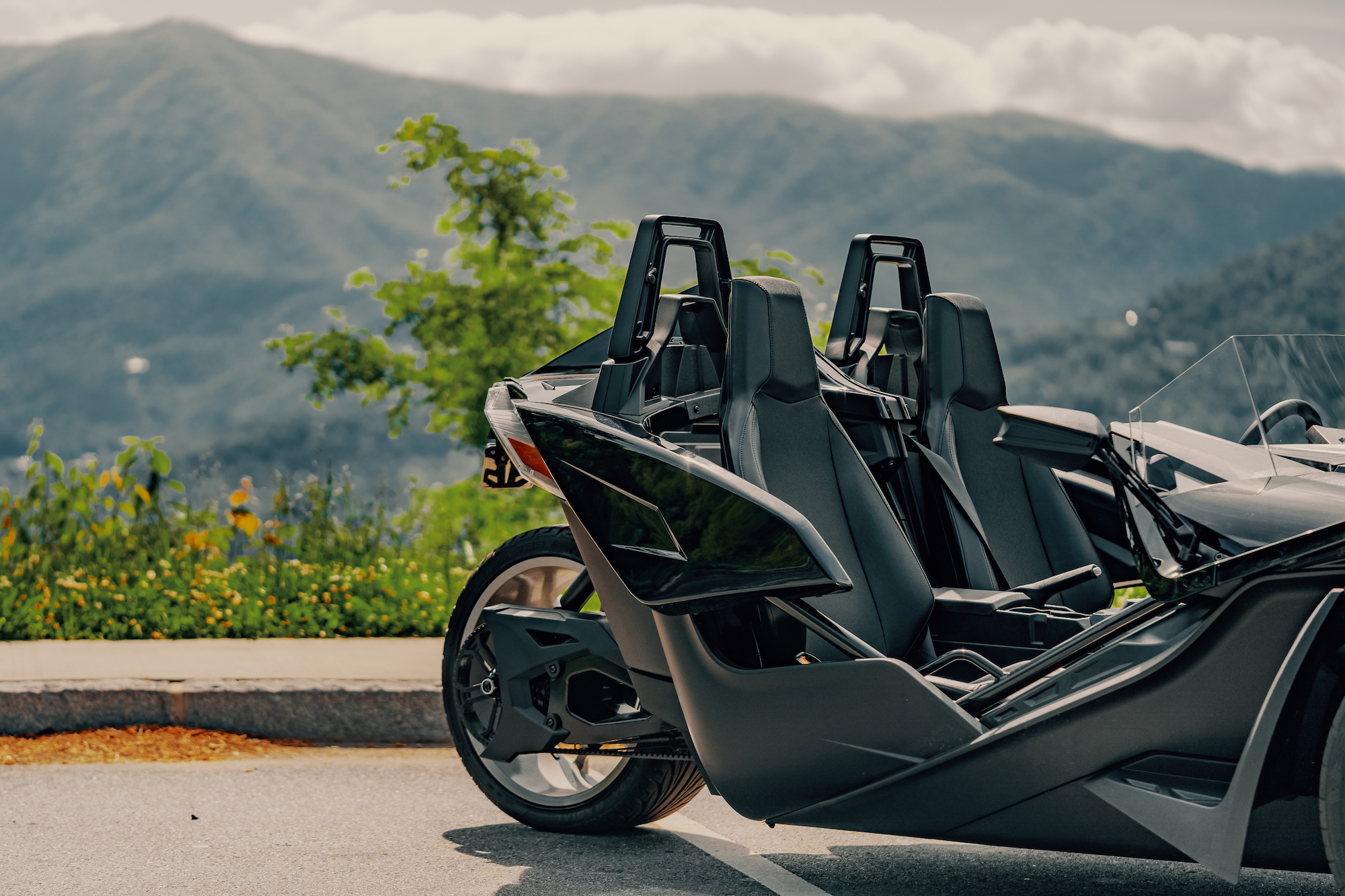back wheel of the Polaris Slingshot - Polaris Slingshots are available as rentals at the Mountain Mile Mall at Mountain Mile Adventures in Pigeon Forge, Tennessee