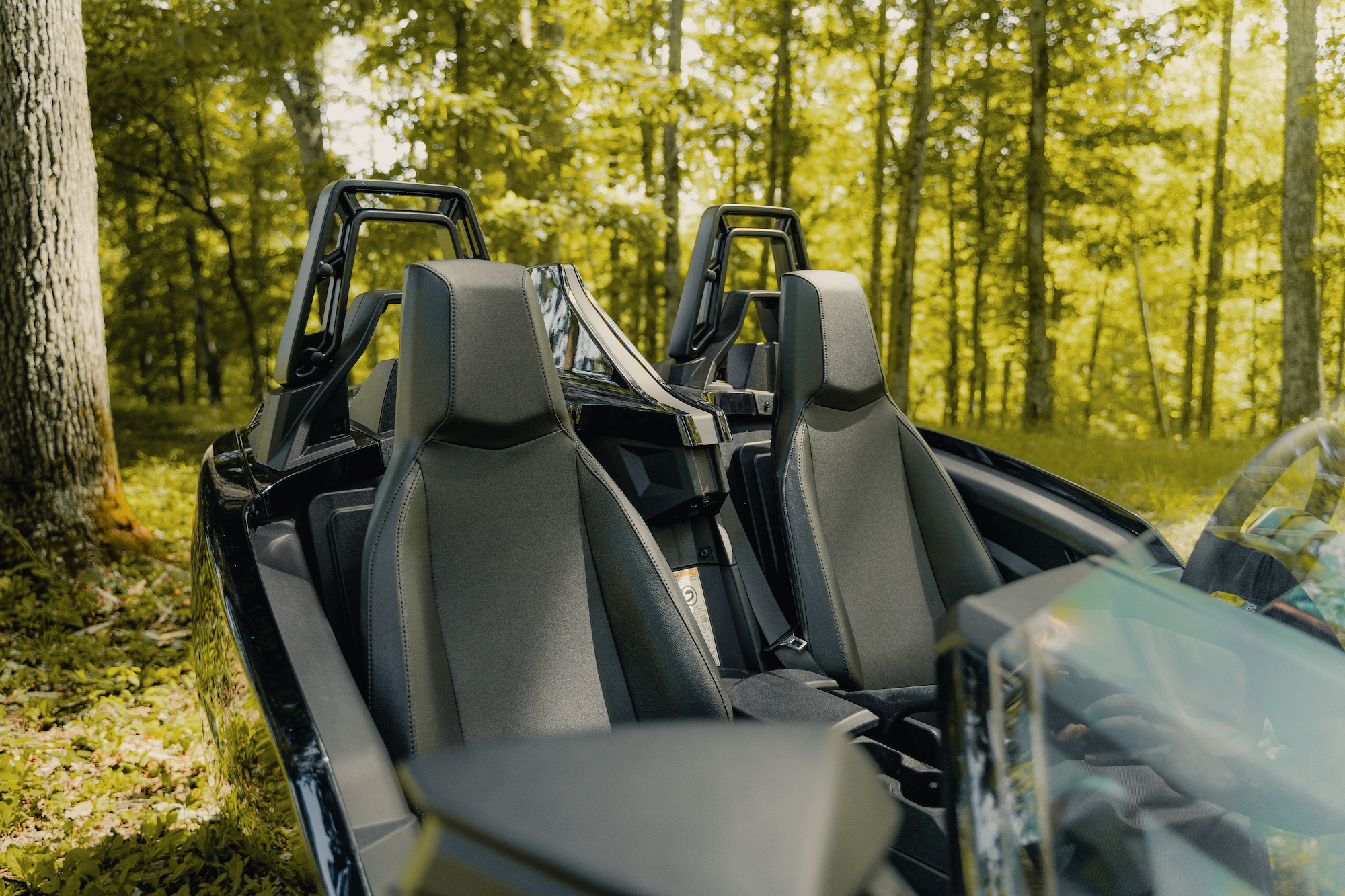 Seats in the Polaris Slingshot - Polaris Slingshots are available as rentals at the Mountain Mile Mall at Mountain Mile Adventures in Pigeon Forge, Tennessee