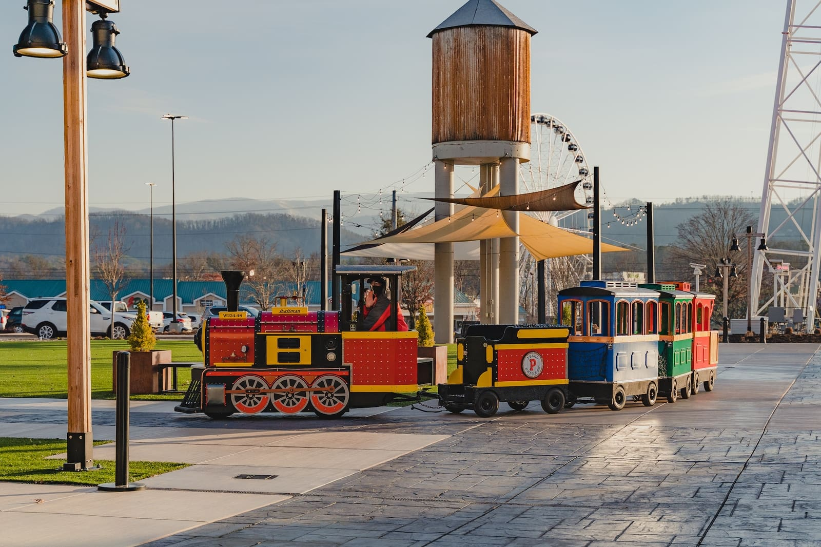 kids train driving in front of the mountain mile in pigeon forge