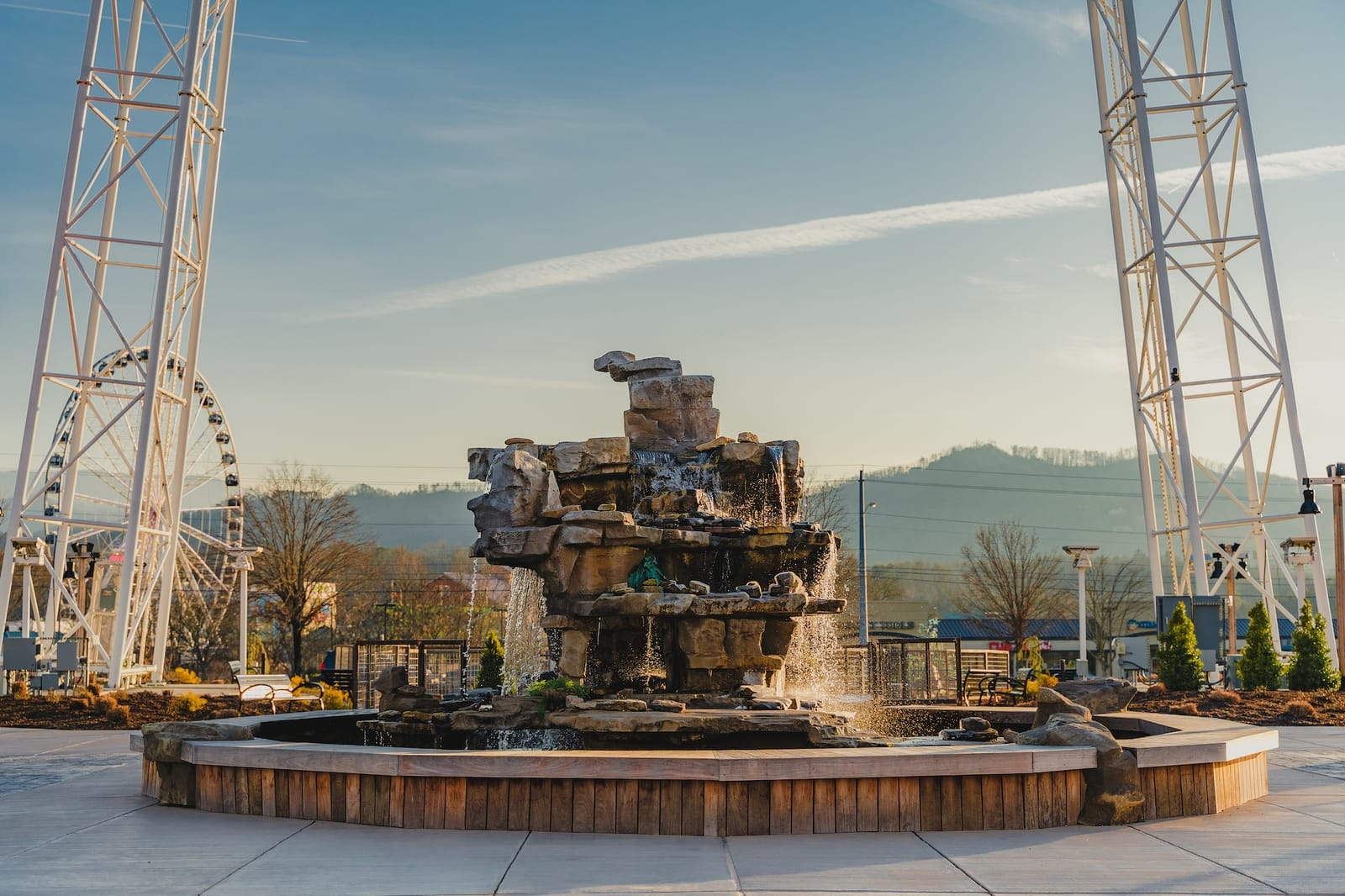 water rock fountain in front of the mountain mile in pigeon forge