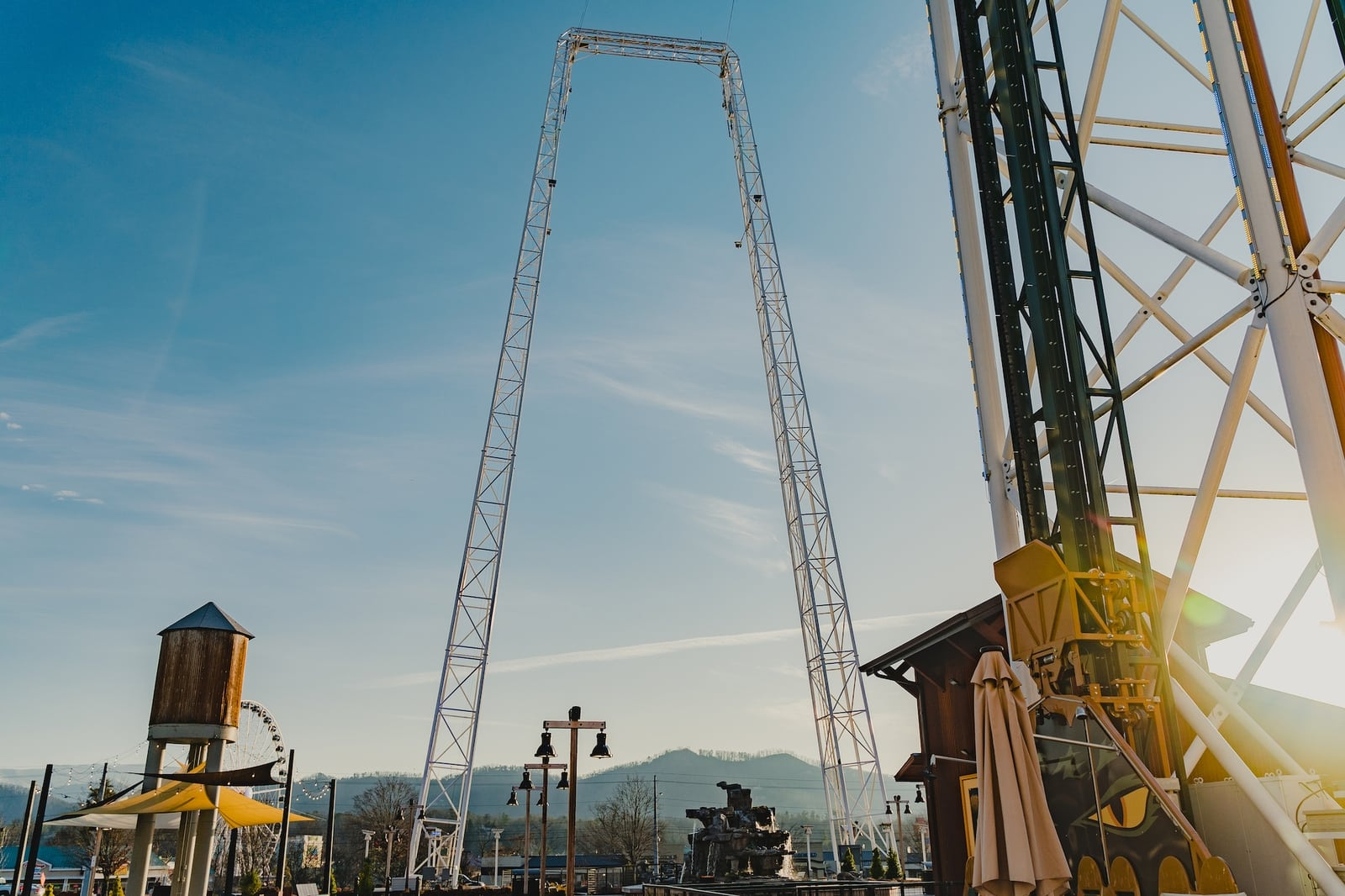 the mountain monster tower in front of the mountain mile in pigeon forge
