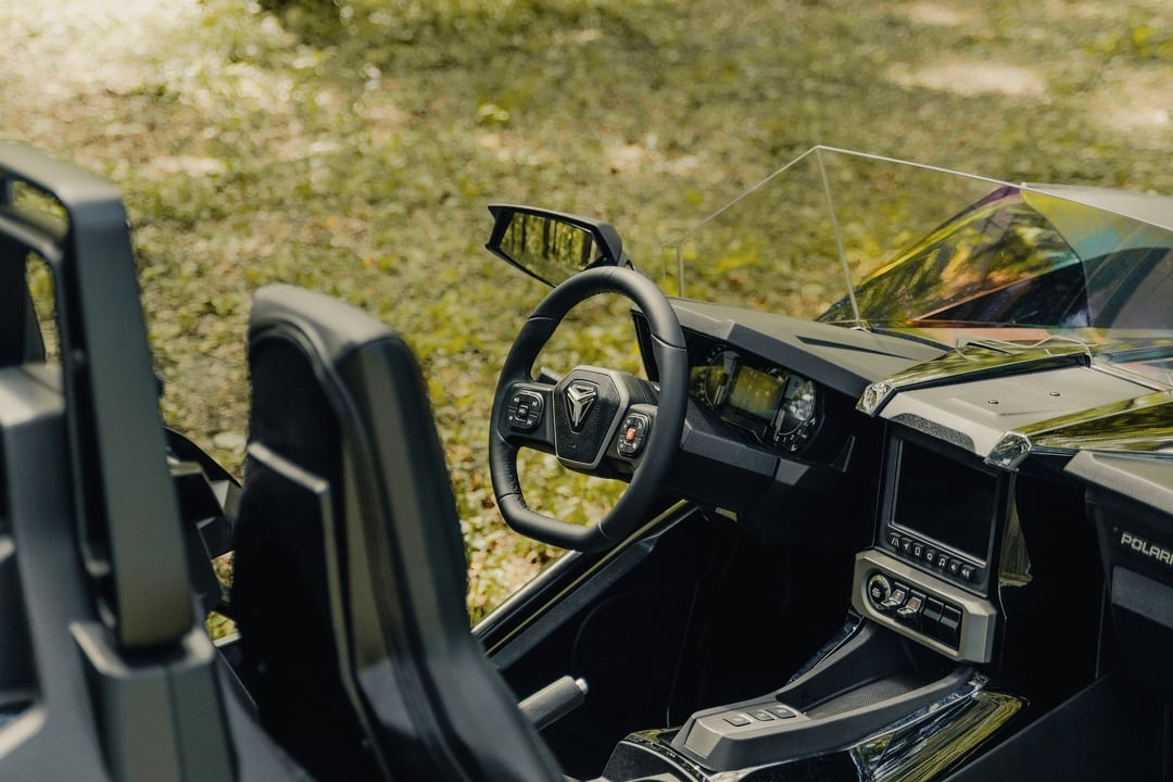 steering wheel of polaris slingshot - Polaris Slingshots are available as rentals at the Mountain Mile Mall at Mountain Mile Adventures in Pigeon Forge, Tennessee