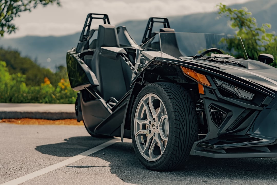 front wheels of polaris slingshot - Polaris Slingshots are available as rentals at the Mountain Mile Mall at Mountain Mile Adventures in Pigeon Forge, Tennessee