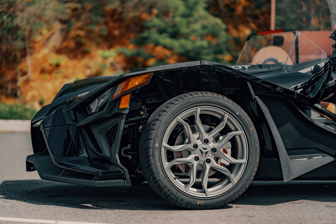 front wheel of polaris slingshot - Polaris Slingshots are available as rentals at the Mountain Mile Mall at Mountain Mile Adventures in Pigeon Forge, Tennessee