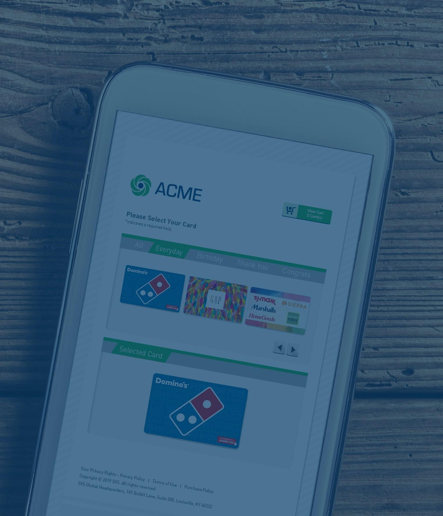 Das Telefon zeigt die Mitarbeitergeschenkkarten-Anreizseite der Firma Acme mit den Optionen Domino's Pizza, The Gap und TJX Companies. Domino's ist ausgewählt.