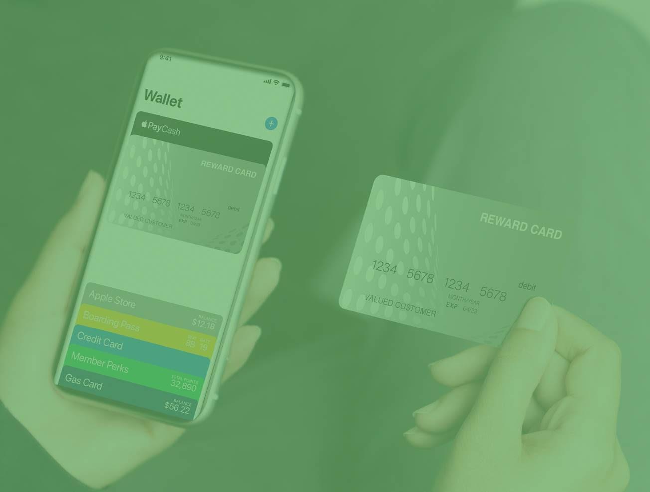Nahaufnahme der linken Hand einer Frau, die ein Smartphone hält. Ihr mobiles Portemonnaie zeigt, dass sie gerade die Mastercard Prepaid-Karte in der rechten Hand hinzugefügt hat.