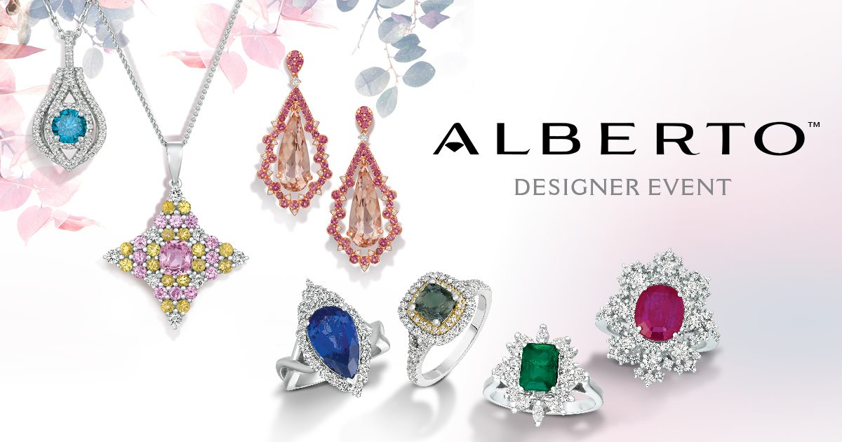 Alberto Designer event poster with different styles of jewelry