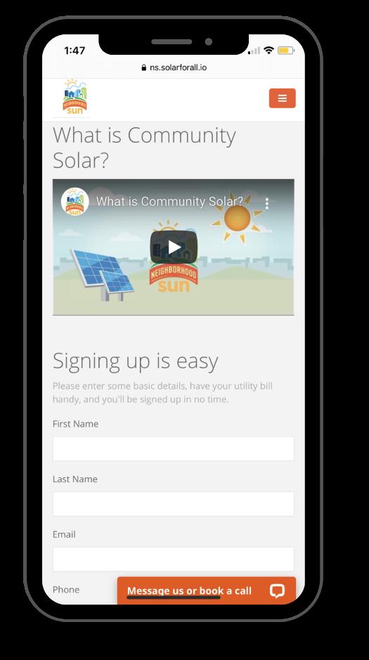 mobile phone with sunengine software screenshot