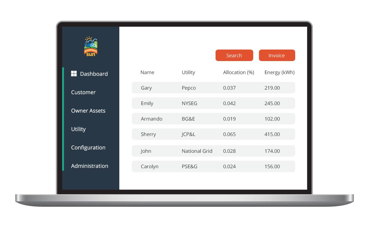 dashboard view of sunengine software