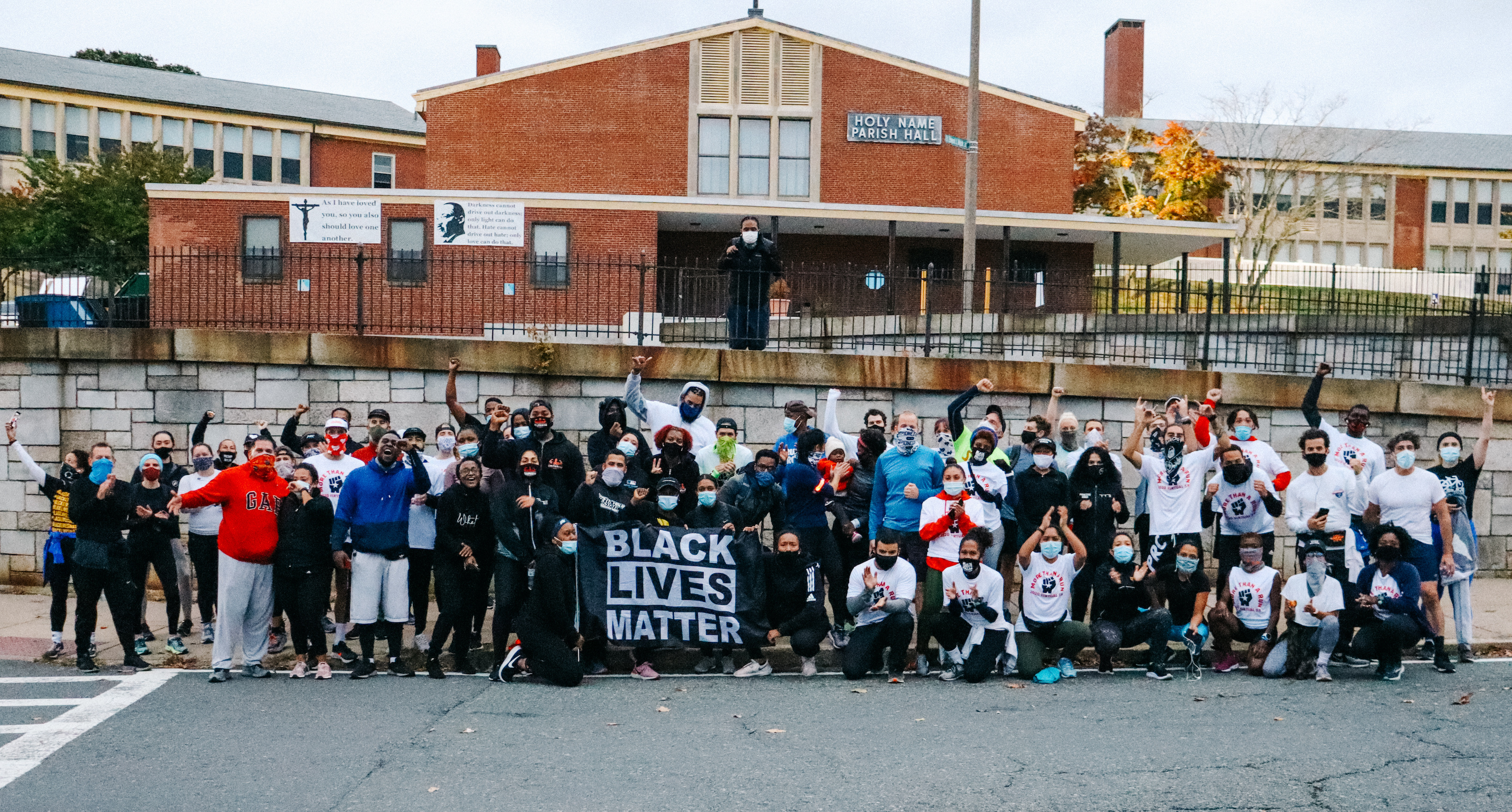 Image of Pioneer Run Crew members gathering for a Black Lives Matter event.