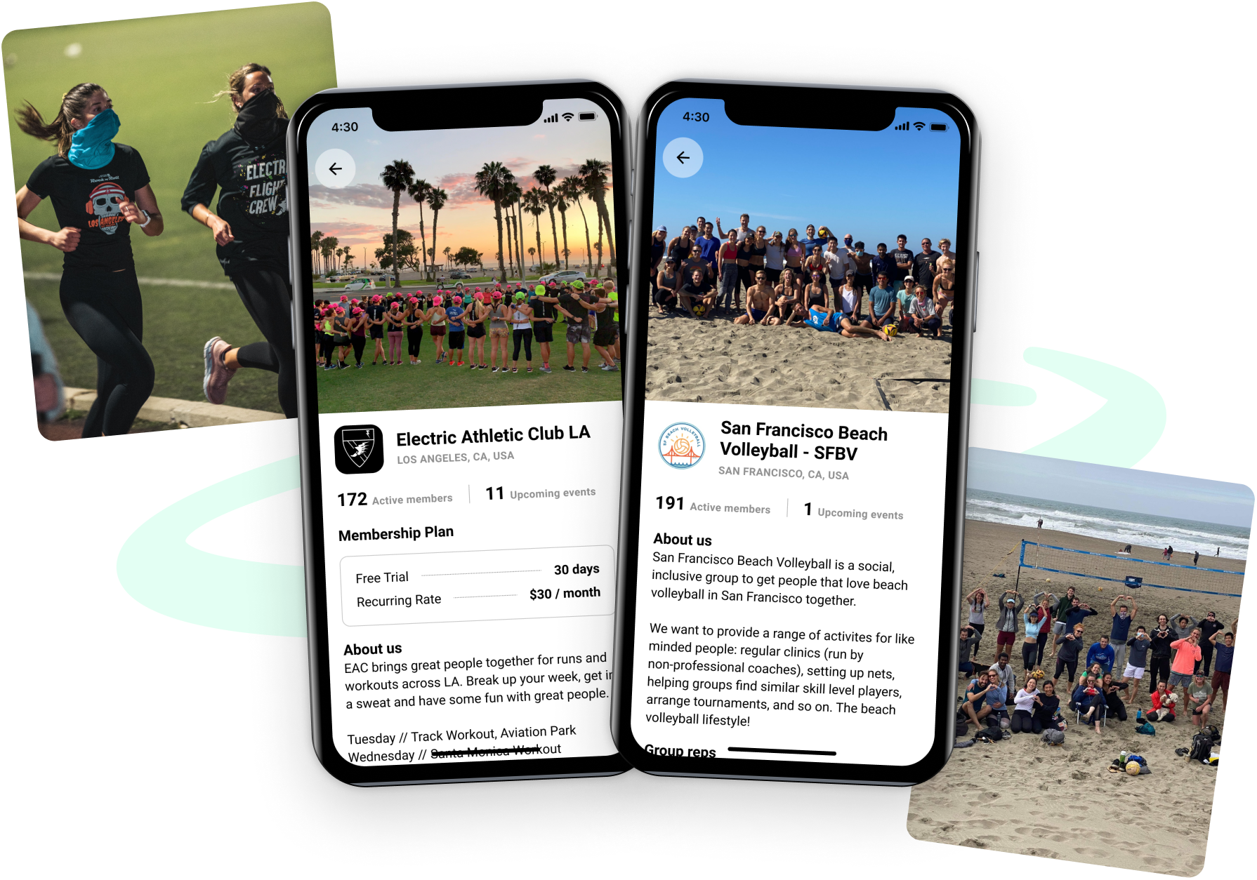 Wireframes of two groups on Heylo - Electric Athletic Club LA and San Francisco Beach Volleyball.