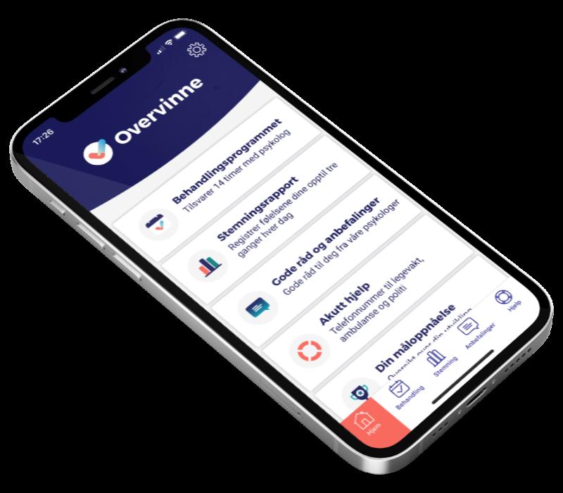 Bilde av telefon med Overvinne app