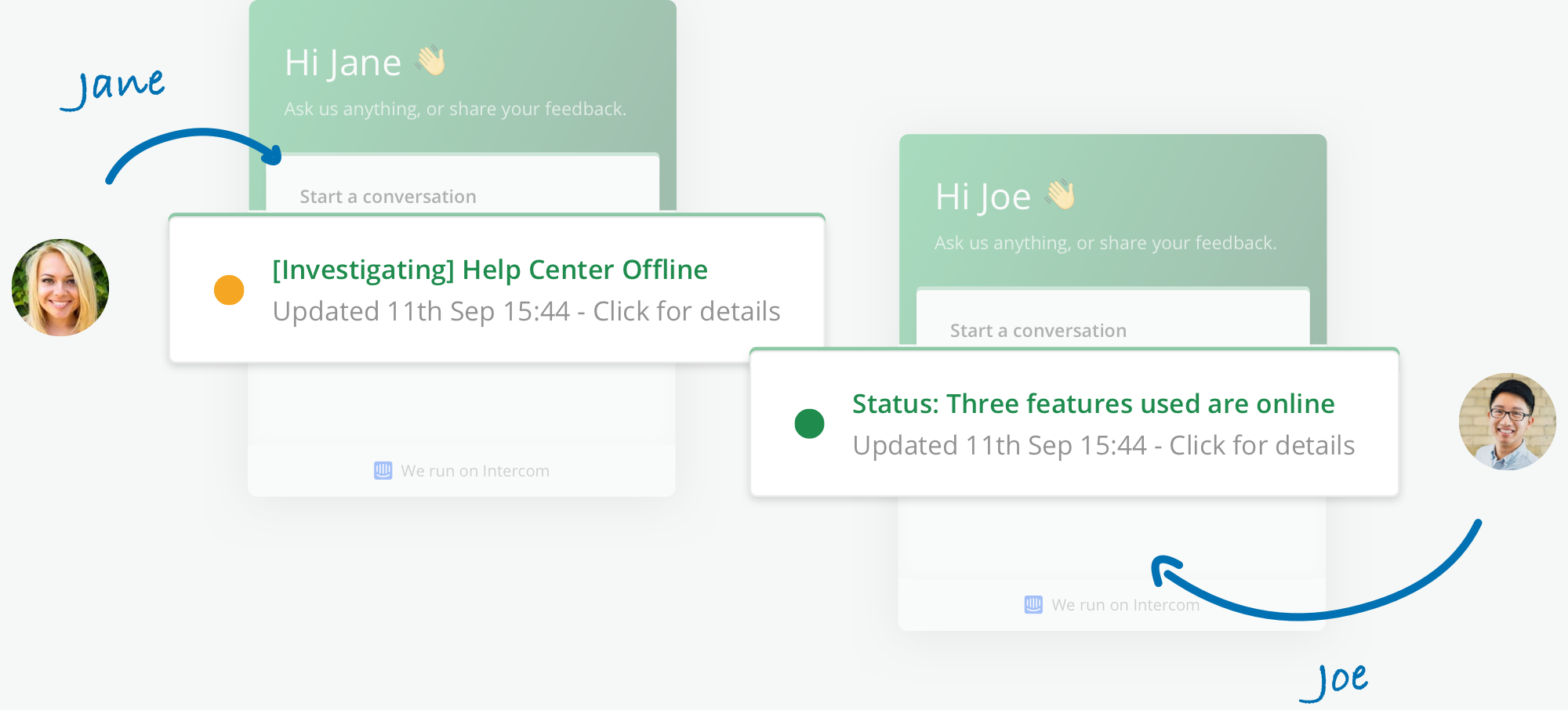 Illustration showing Intercom Messenger with personalised status for each customer