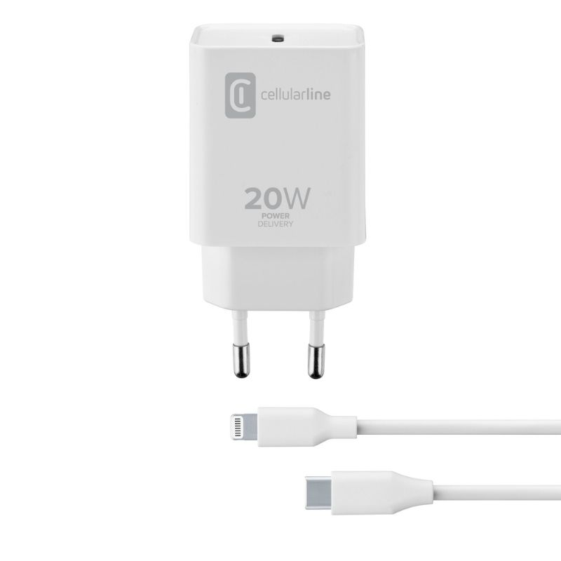 Cellularline - Chargeur secteur kit 20W PD USB-C vers Lightning