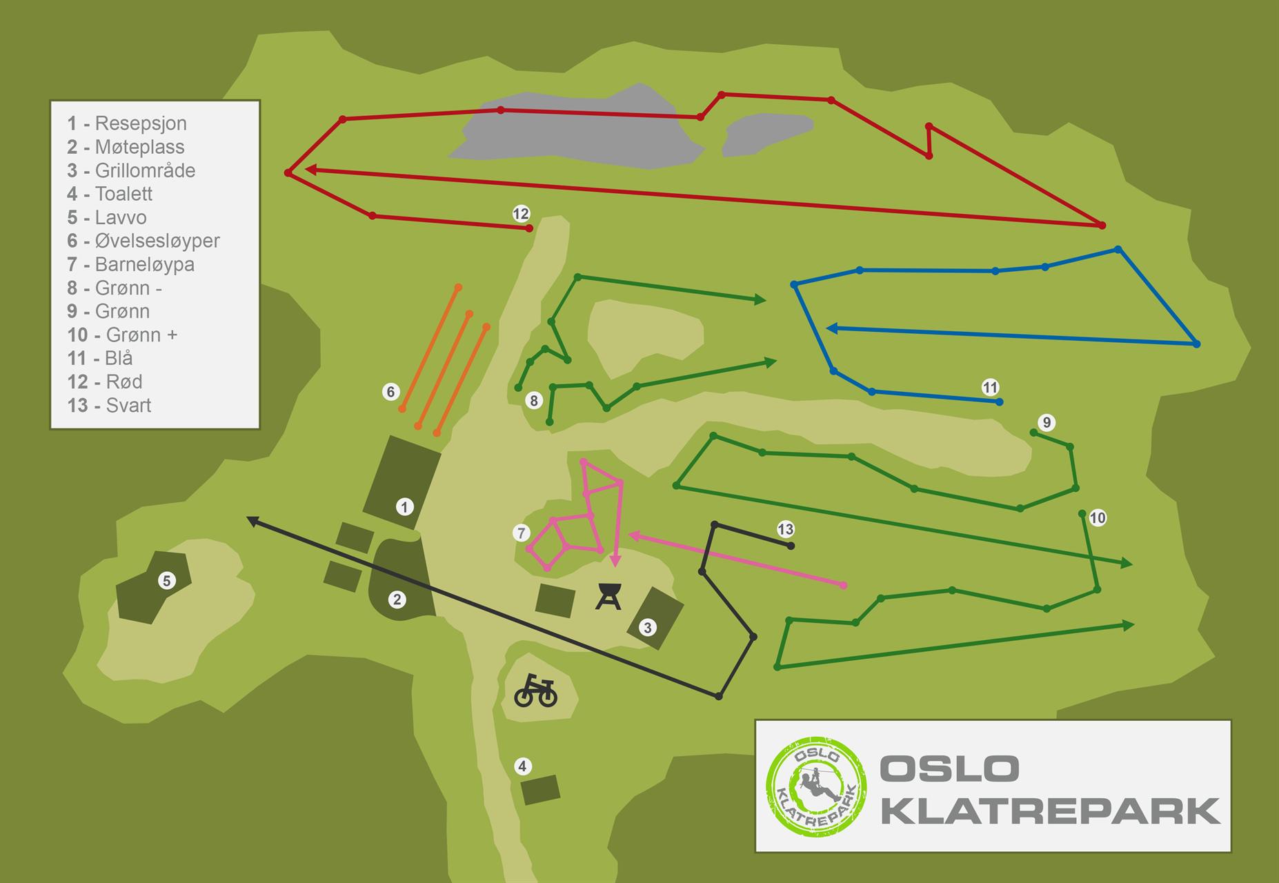 Bilde av et oversiktskart hos Oslo Klatrepark.
