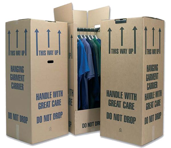 Wardrobe removal boxes with clothes inside