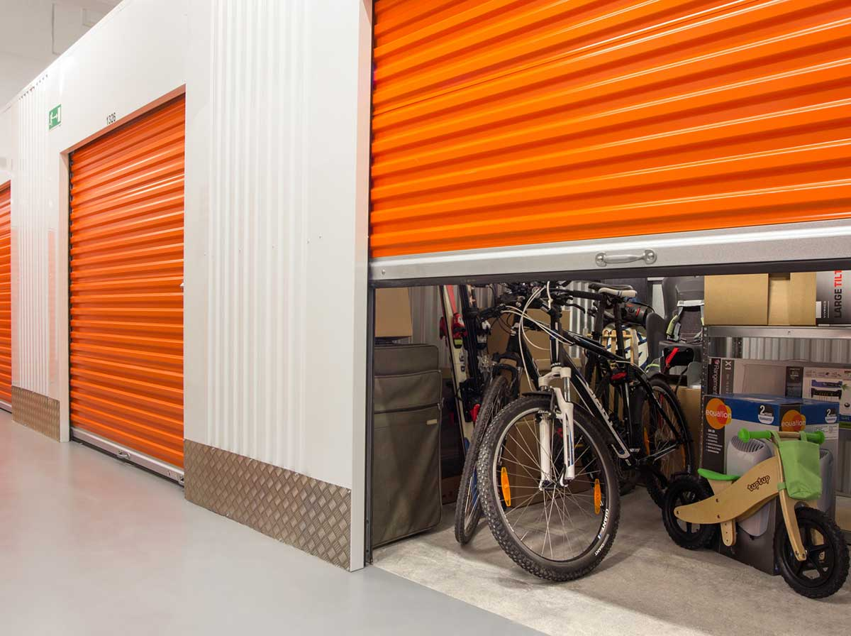 A secure storage bay full of property
