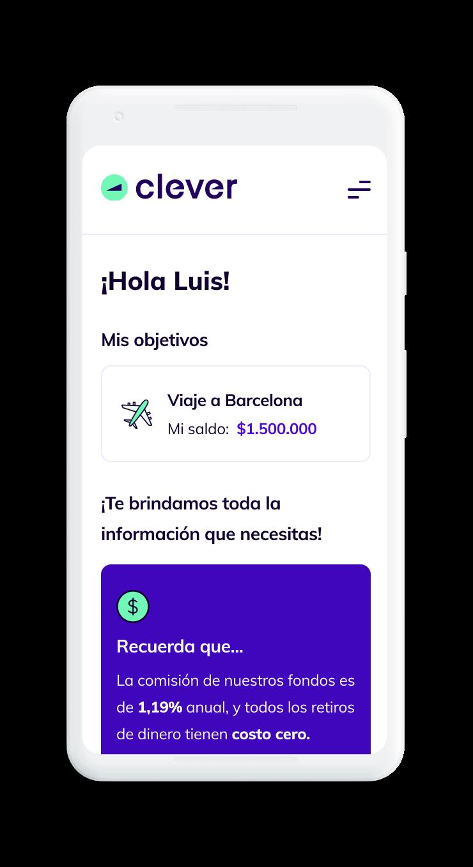 Celular con plataforma Clever abierta que muestra la rentabilidad y el detalle de la inversión que generas con tus ahorros