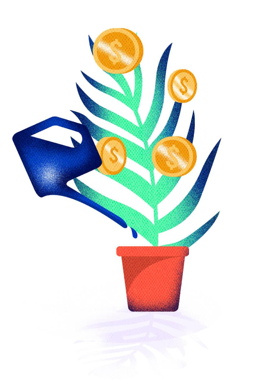 Ilustración de planta del dinero siendo regada