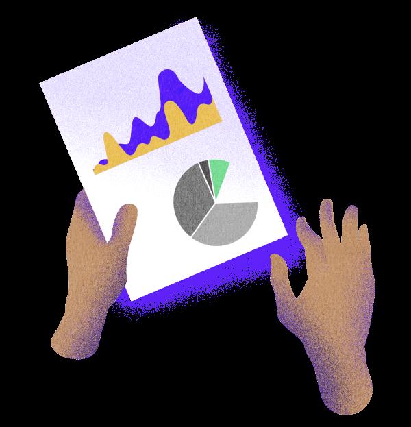 Ilustración de manos sujetando hoja que contiene dibujos de diversos gráficos