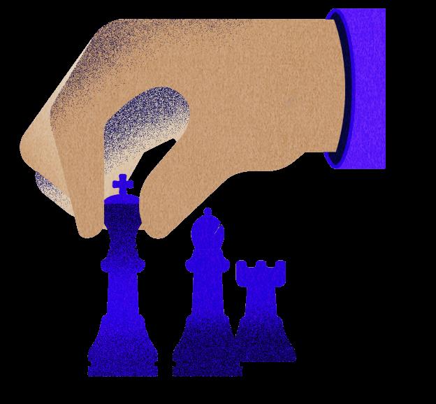 Ilustración de mano jugando ajedrez