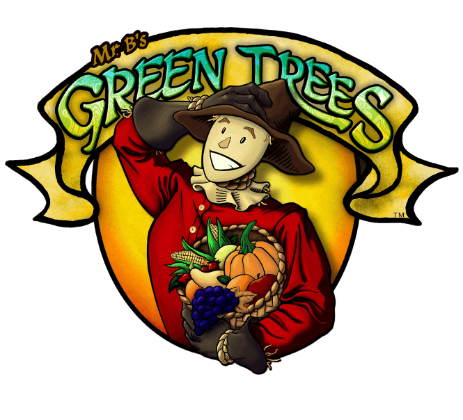 Mr. B's Green Trees Scare Crow Label Image