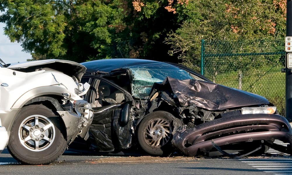 Two car accident with severe damages