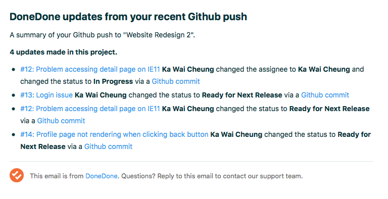 Email summary of Github commits