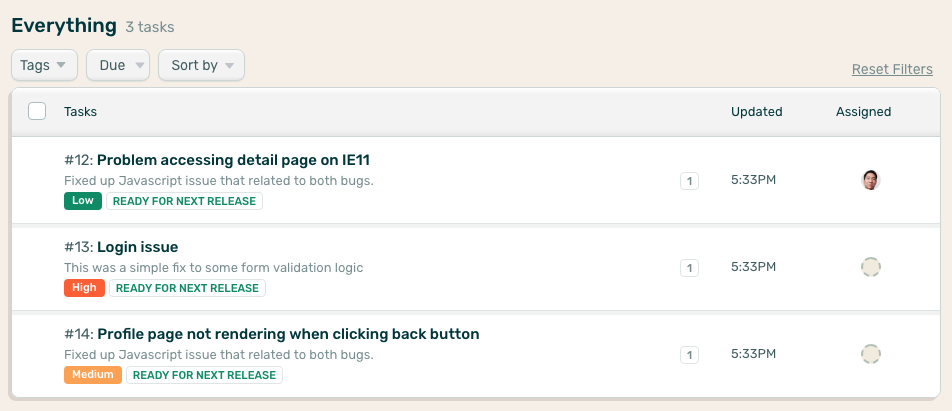 Image of project task list