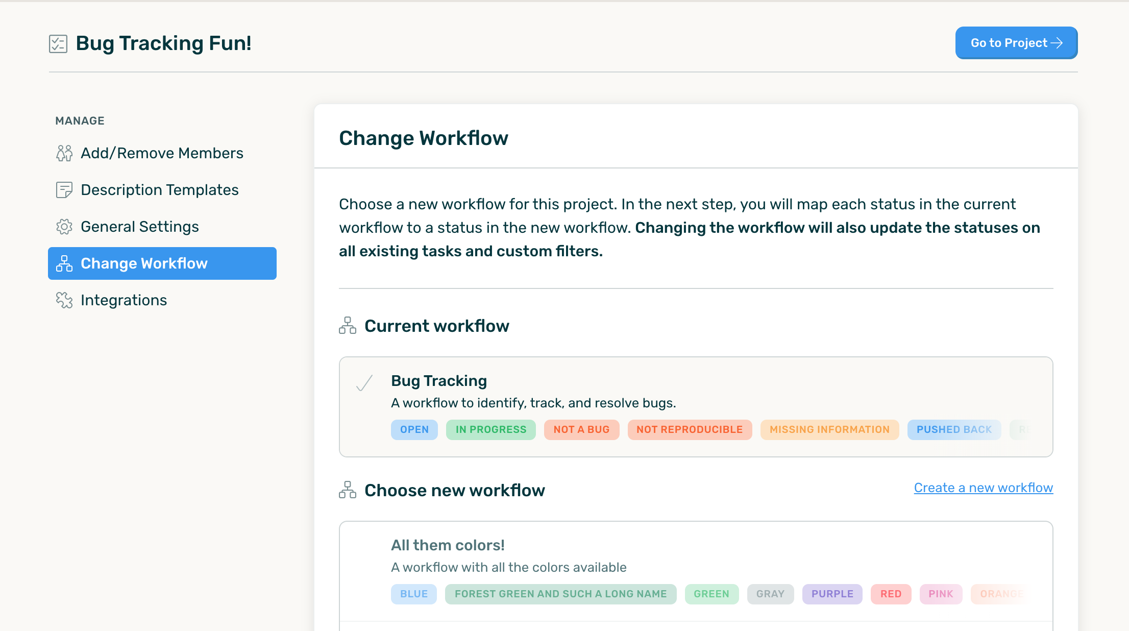 Current workflow and a list of new workflows