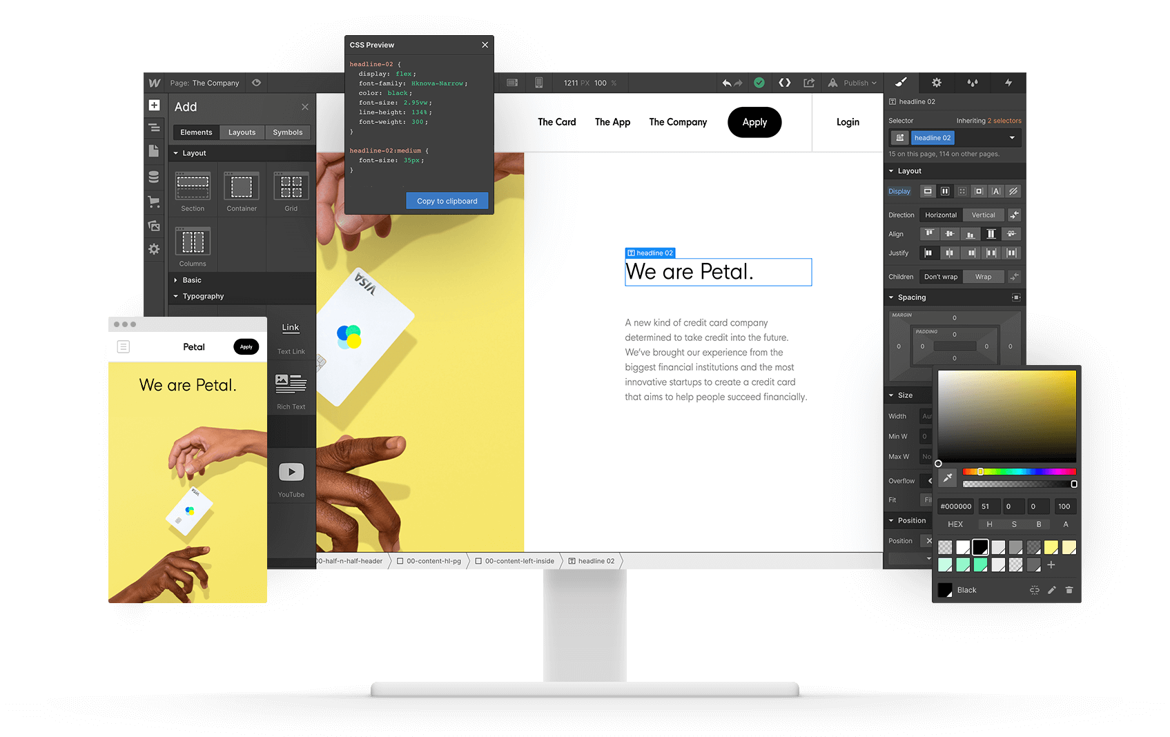 Picture of Webflow inside of a mac screen