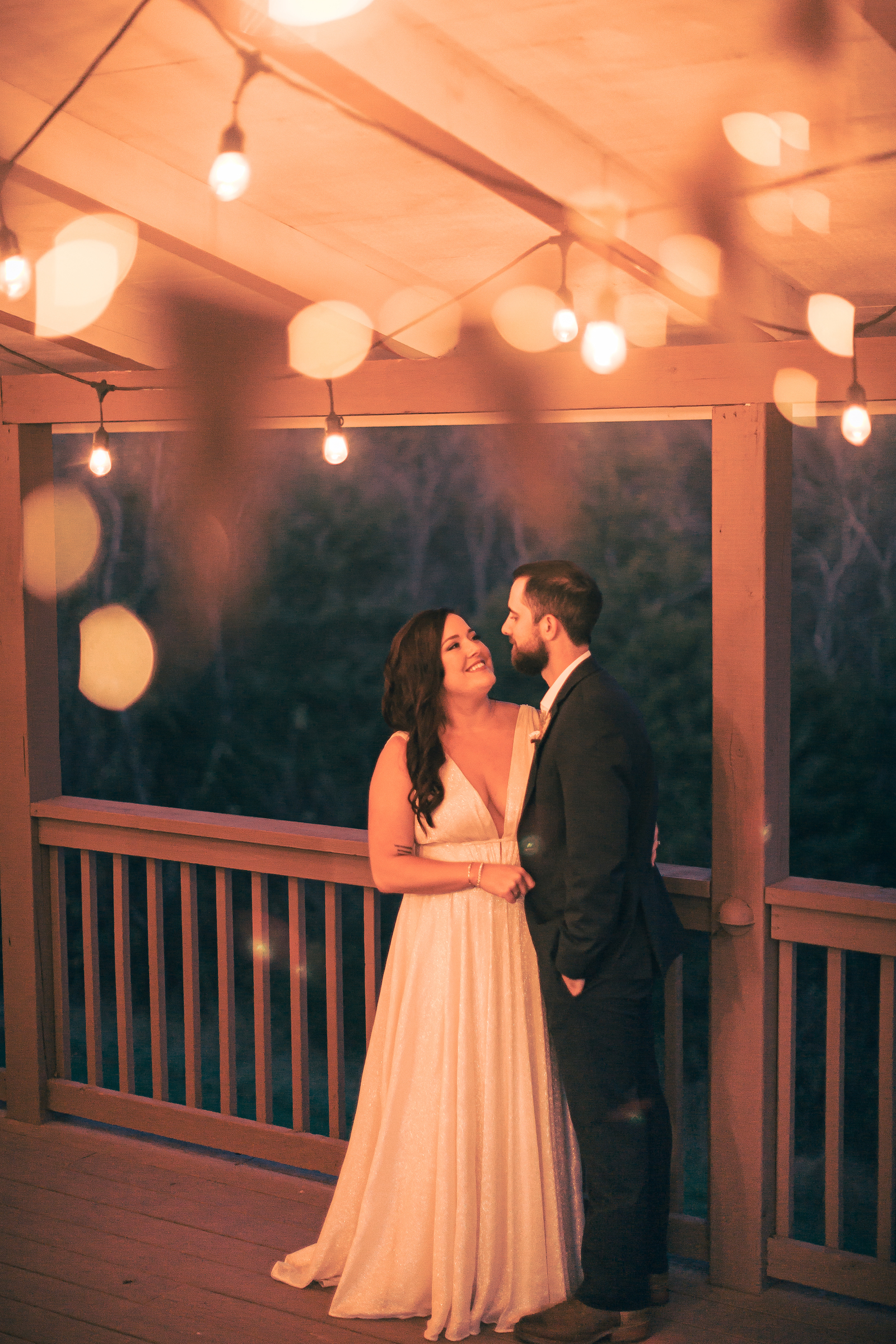 a couple after dancing at flower mountains wedding venue in gatlinburg tennessee