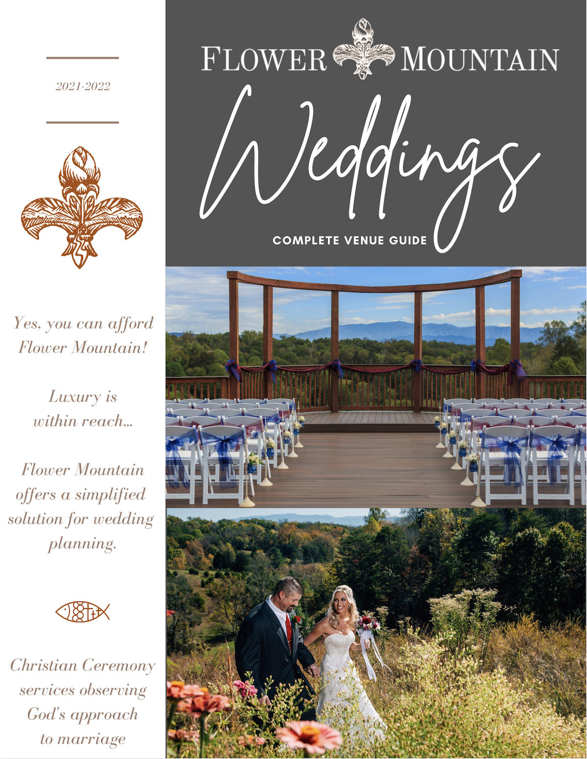 the flower mountain wedding venue PDF document preview for pricing
