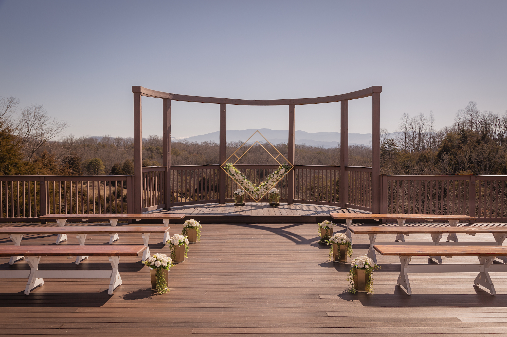 the main porch where people get married at flower mountain wedding venues in gatlinburg tennessee