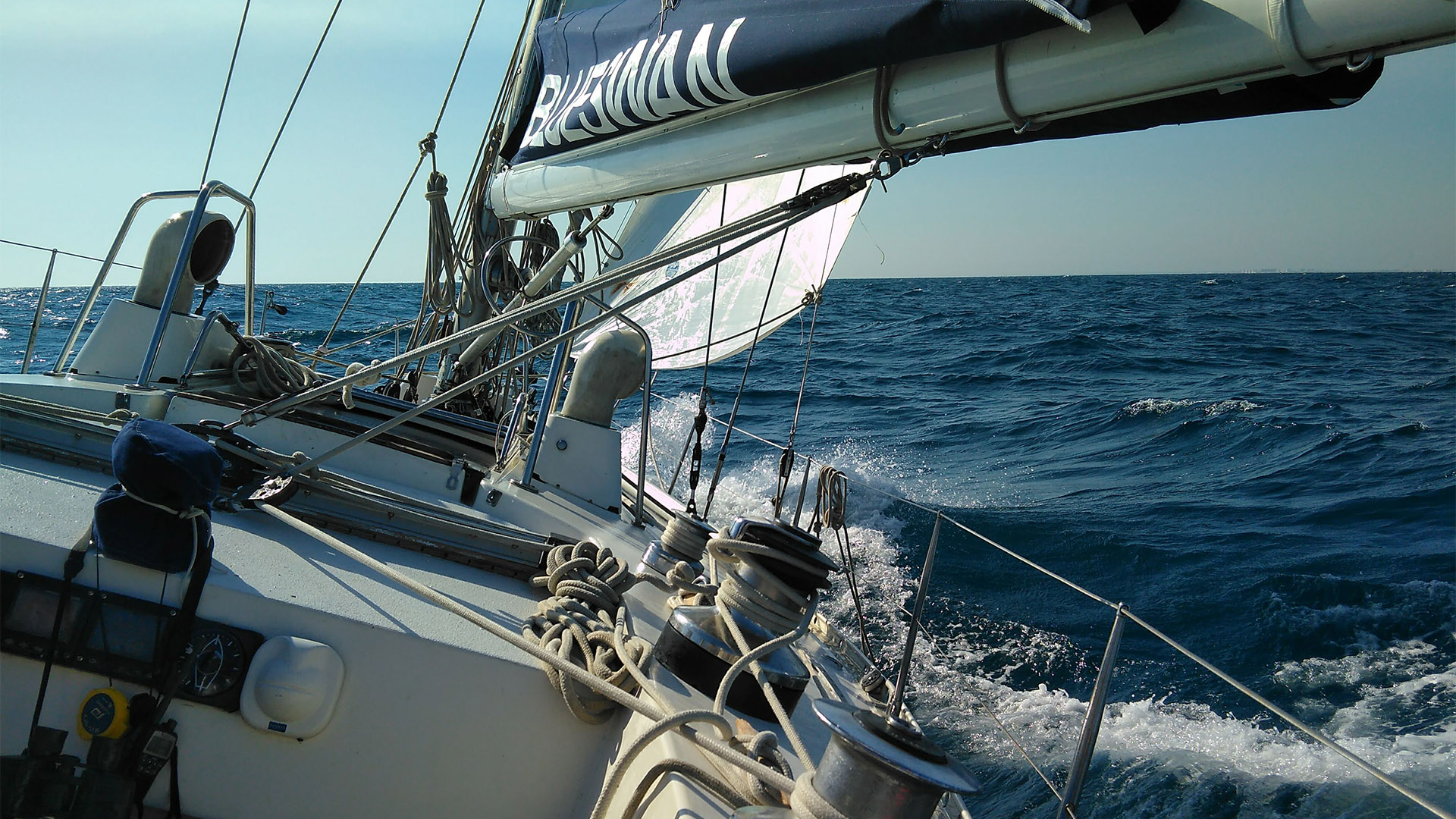 Expedition sailboat in the ocean