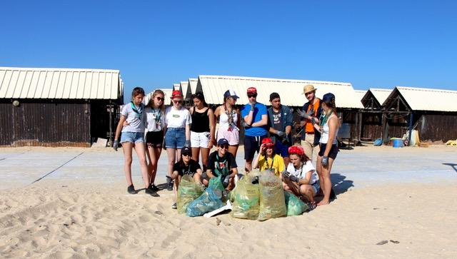 Beach cleaning team after work