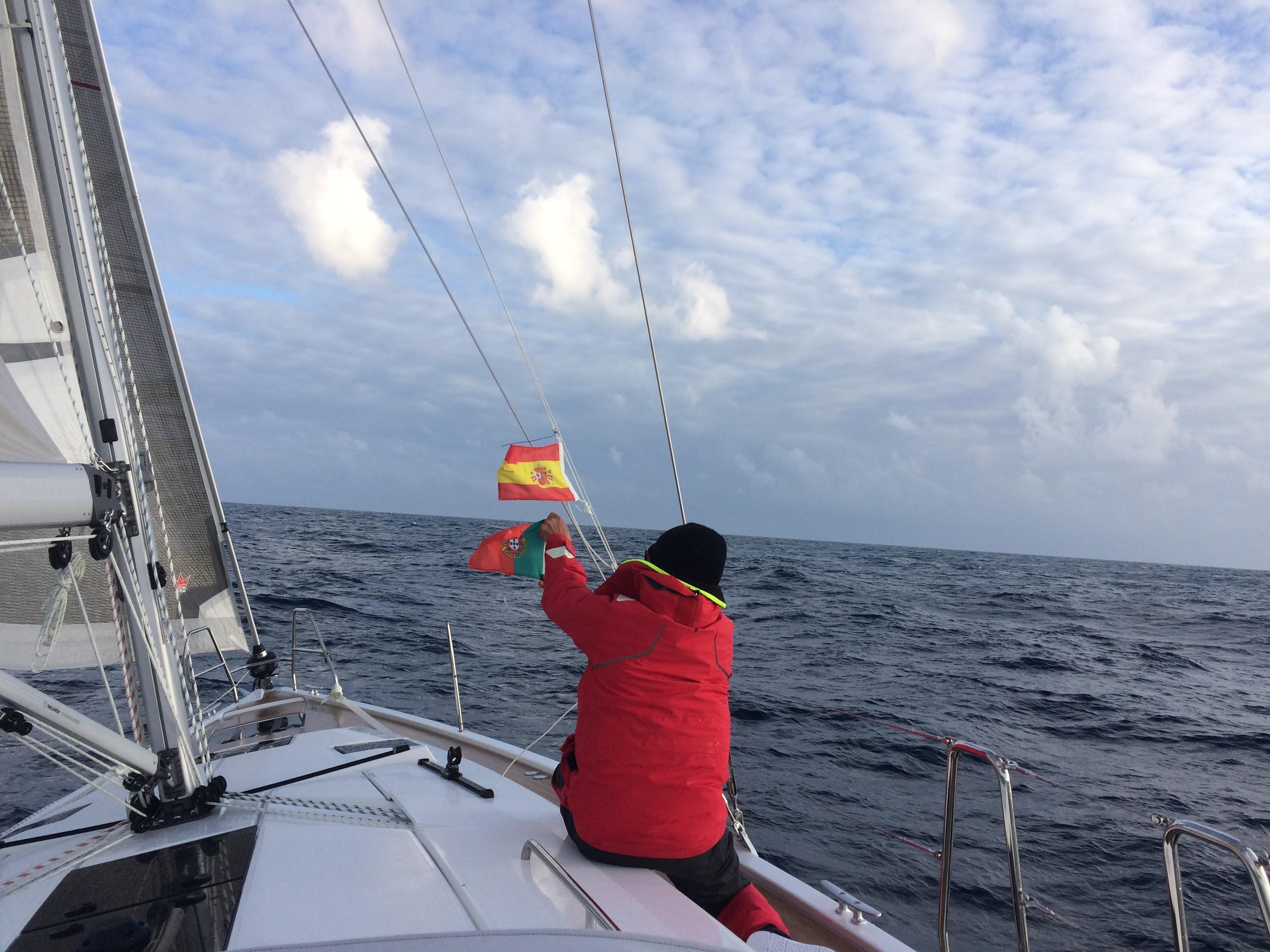 Solo traveller setting a courtesy flag