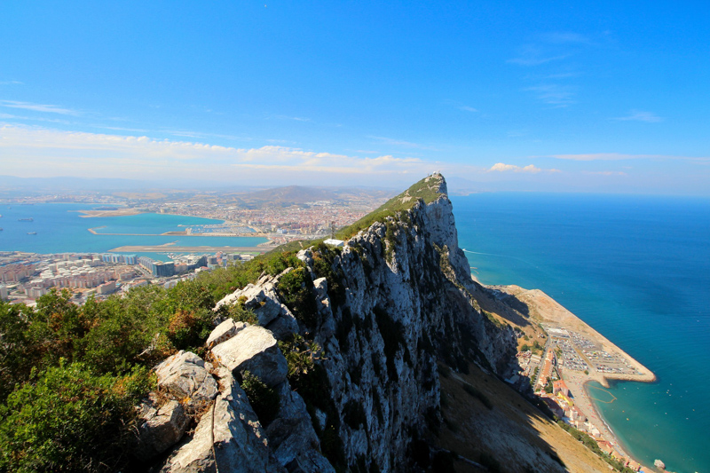 Drone view of the rock of Gibraltar