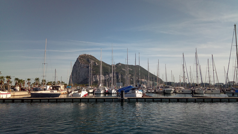 View of the rock of gibraltar from the marina