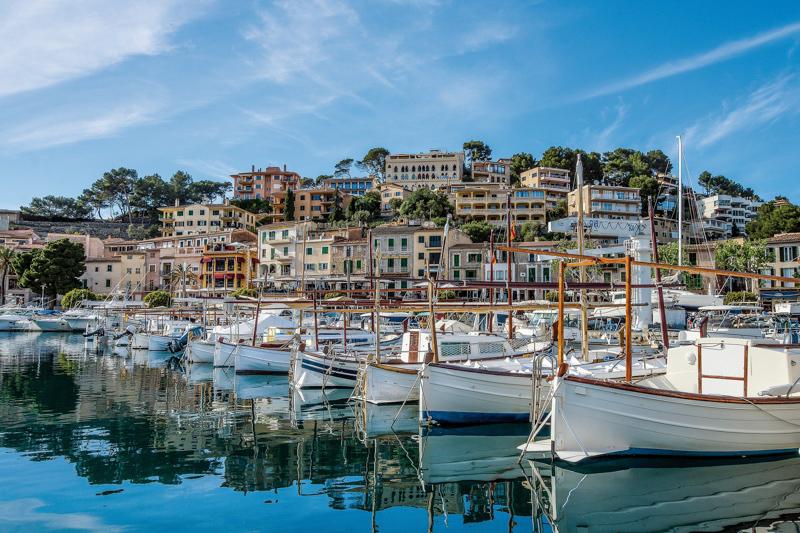 Marina in ibiza filled with boats