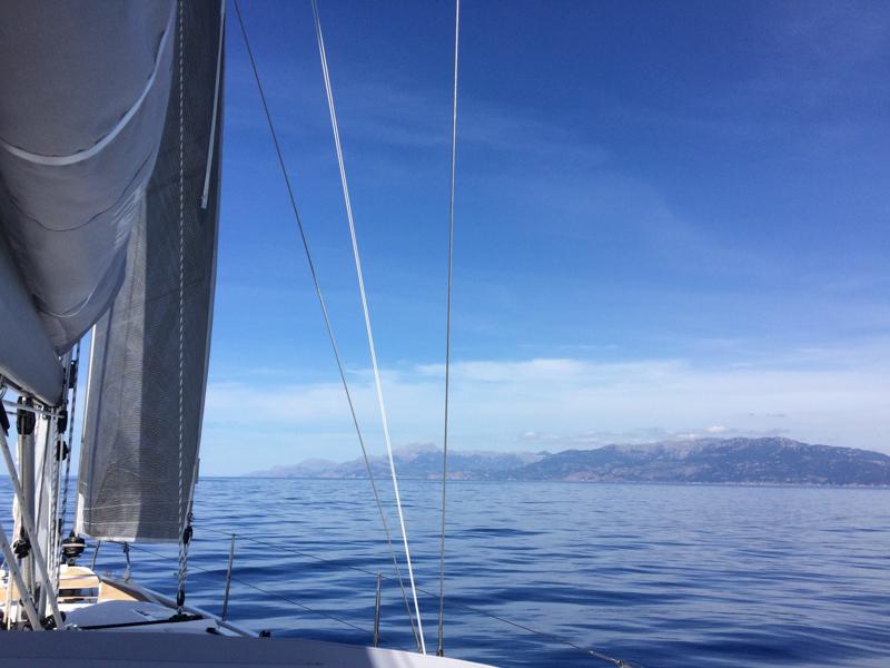 Sailing on calm seas in a big boat