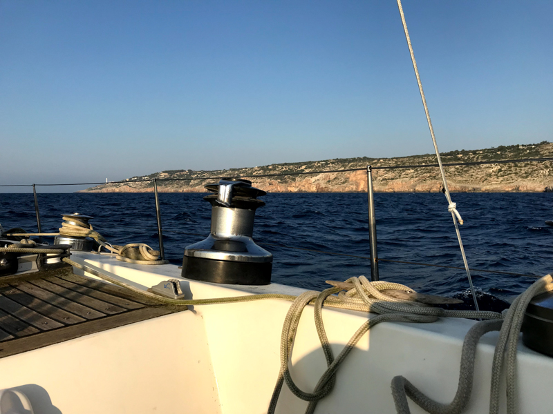 View from the sailboat to land