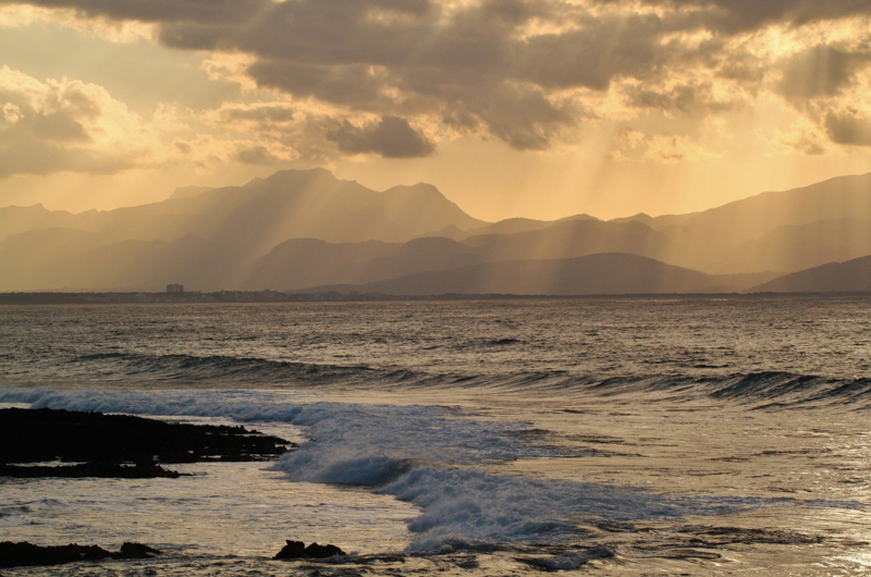 Sunrays touching the sea