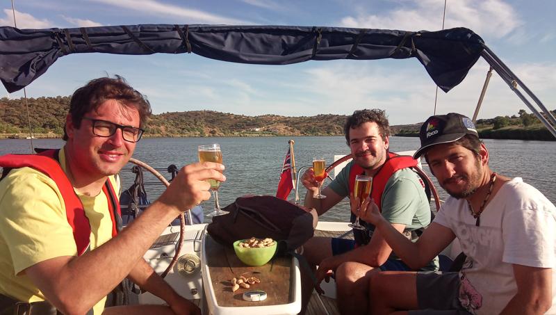 Crew having lunch onboard